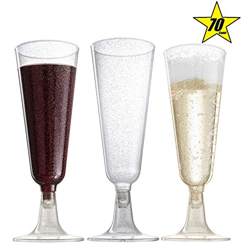 70pc Gold Glitter Plastic Classicware Glass Like Champagne Wedding Parties Toasting Flutes Party Cocktail - Glasses Toasting Theme
