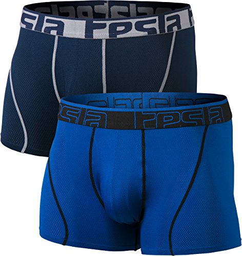 TSLA Men's Relaxed Stretch 3 inches Open-Fly Cool Dry Brief Mesh Underwear Trunk (Pack of 2), Fly-Front 3inch 2pack(mbu01) - Navy Grey/Blue, 2X-Large