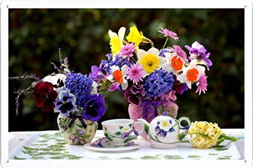"""Flower Tin Sign Daffodils Hyacinths Pansies Flowers Vases Tea Set Tray 42211 by Waller's Decor (7.8""""x11.8"""")"""
