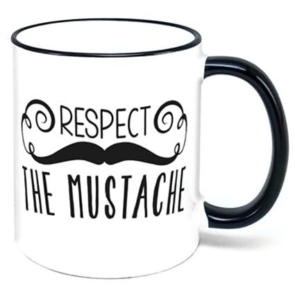 amazon com respect the mustache coffee mug coffee cups mugs