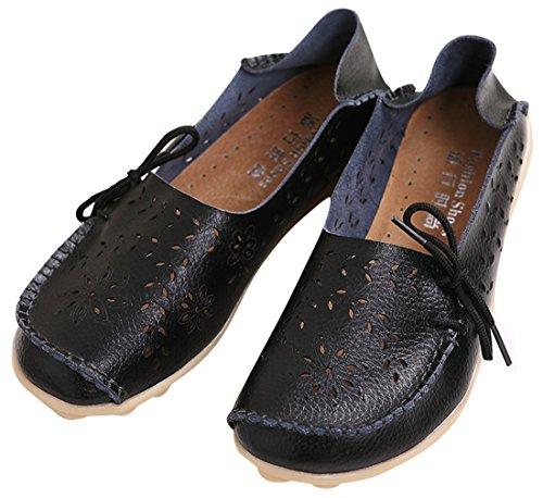 UJoowalk Frauen Leder Rindsleder aushöhlen Casual flache Fahr Schuhe Slipper Schwarz