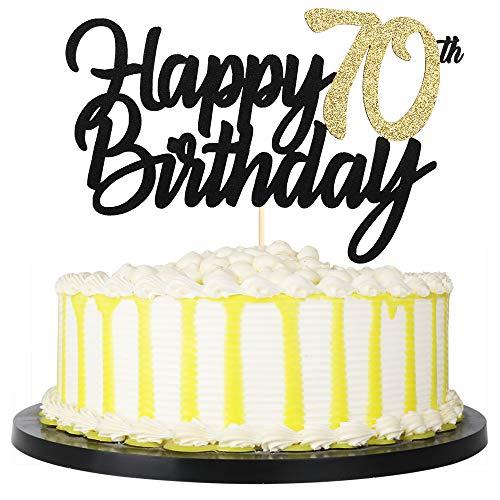 PALASASA Black Gold Glitter Happy Birthday cake topper - 70 Anniversary/Birthday Cake Topper Party Decoration (70th) -