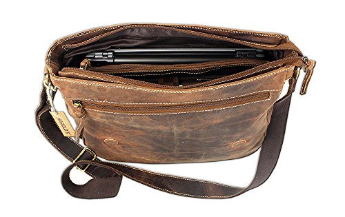 HAROLD`S Leder Aktentasche Umhängetasche Messengerbag antik braun 6140 XXL