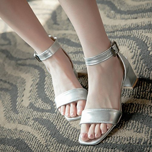 Mee Shoes Sweet Womens Mid-heel Solid-color Sandals Shoes Silver 5Rmc71DM4