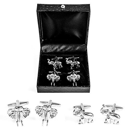 Elephant Gold Cufflinks - MRCUFF Elephant Head and Trunk Up 2 Pairs Cufflinks in a Presentation Gift Box & Polishing Cloth