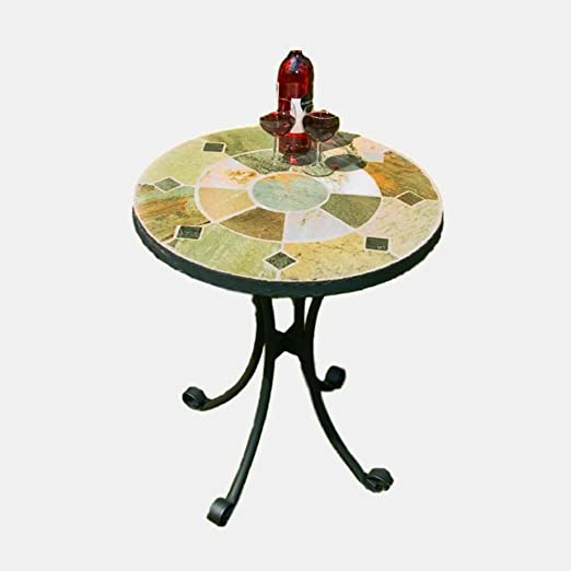 Mosaic Bistro Mesa pequeña jardín redondo comedor negro metal café patio exterior muebles lado 2 plazas exterior desayuno bebidas & E Book: Amazon.es: Jardín