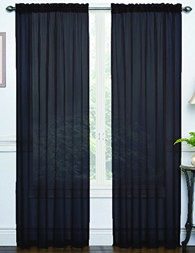 RT Designers Collection Jennifer Rod Pocket Window Curtain Panel, 54 by 84-Inch, Black - Jennifer Curtain Panel Set