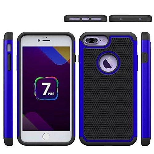 YHUISEN Ball Series Armadura de goma amortiguadora de plástico Defensor cubierta de la caja protectora para el iPhone 7 ( Color : Purple , Size : IPhone 7 ) azul