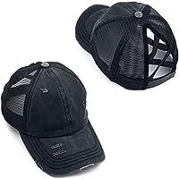 Cogihome Gorra de béisbol para Mujer Ponytail Messy Bun Gorra de béisbol Criss Cross Hat Sombrero para el Sol al Aire…