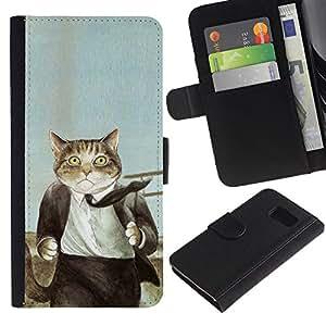 Planetar® Modelo colorido cuero carpeta tirón caso cubierta piel Holster Funda protección Para Samsung Galaxy S6 ( Cat Suit Empresario Arte Pintura Dibujo )