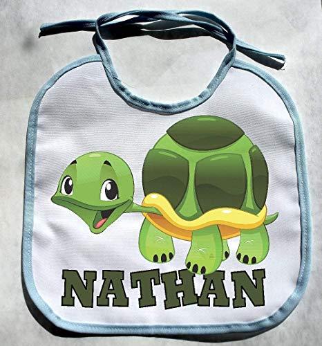 Personalized Custom Name Turtle Jungle Zoo Animals Baby Boy Bib Shower Gift Bibs