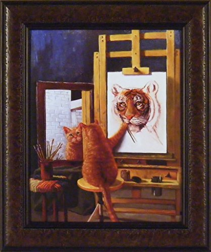 Norman Catwell by Lucia Heffernan 16x19 Humorous Funny Art Kitty Self Portrait Painting Cat Tiger Framed Print Picture