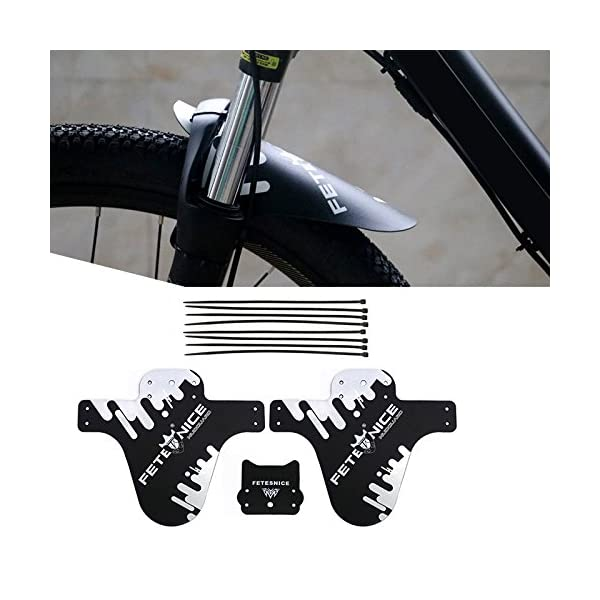 """FETESNICE Adjustable Mountain Bike Fender Front and Rear Compatible,Fits 26/""""..."""