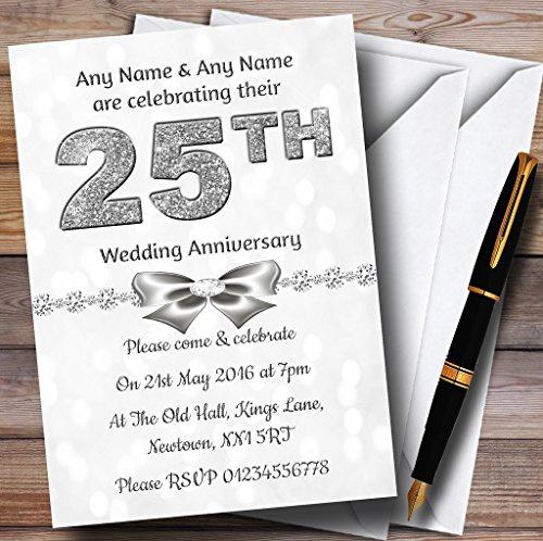 White Bokeh & Silver Glitter Look 25Th Personalized Anniversary Party Invitat. ()