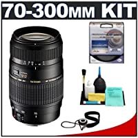 Tamron 70-300mm Di Macro Lens with Hood + 62mm UV Filter + Accessory Kit for Canon EOS 6D, 70D, Rebel T3, T3i, T4i, T5, T5i, SL1 Digital SLR Cameras
