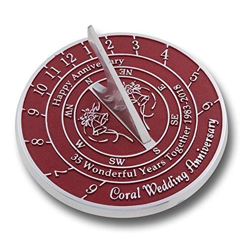 The Metal Foundry Personalized 35th Coral Wedding Anniversary Large Sundial Gift Idea is A Great Present for Him, for Her Or for A Couple to Celebrate 35 Years of Marriage