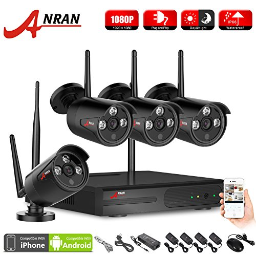 ANRAN 4CH Wireless NVR Kit P2P 1080P HD Outdoor IR Night Vision IP Video Security CCTV Camera WIFI Surveillance System Plug and Play, Remote Access,