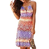 Womens Summer Casual Sleeveless Retro Print Halter Beach Short Dress Mini Dresses (Multicolor -5, L)