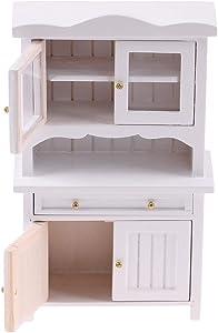 IGUFSDIG 1Pcs Dollhouse White Cabinet 1:12 Dollhouse Wooden Storage Cabinet Dollhouse Miniature Furniture 1:12 Mini Wooden Storage Cabinet Miniature Dollhouse Cabinets