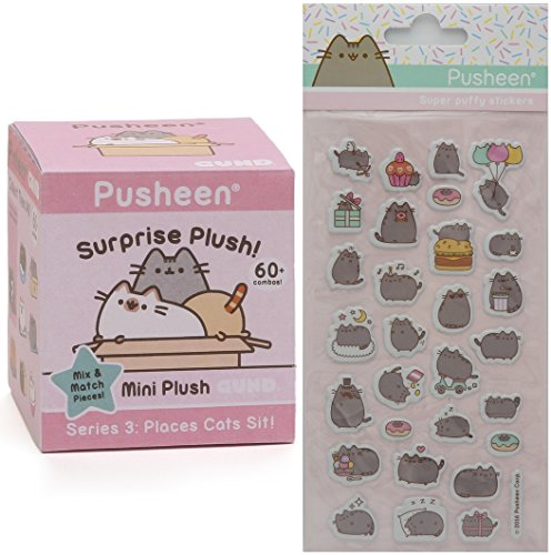 Gund Pusheen Blind Box Surprise Series #3 - Places Cats Sit Plush with Pusheen Super Puffy Stickers (3 Seat Box Series)
