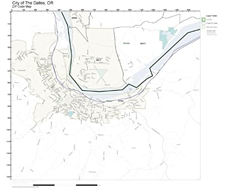 Amazon Com Zip Code Wall Map Of City Of The Dalles Or Zip Code Map