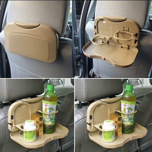 Goldfox Folding Car Auto Back Seat Table Drink Food Cup Tray Holder Stand Desk (Khaki) (Folding Food Tray For Car compare prices)