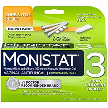 Monistat 3-Day Vaginal Antifungal | Cure & Itch Relief Combination Pack | 3 Vaginal Ovules and Itch Relief Cream