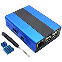 Eleduino Raspberry Pi 3 ,Pi 2, B+ Aluminum Alloy Case Enclosure with Heatsinks(Blue)