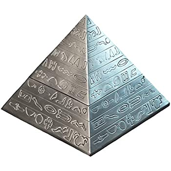 Kepfire Creative Retro Metal with Lid Ashtray Home Hotel Office KTV Decor Ancient Egypt Sculpture Pyramid Ornaments Festival Gift - Ancient tin Color