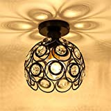 ELEC TECH Ceiling Lamp Crystal Light Rotunda LED Required E27 Bulbs for Dining Room Bathroom Bedroom Livingroom Coffee House (Light Source is not Included)