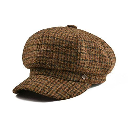 Womens Brown Tweed - VOBOOM Womens Visor Beret Newsboy Hat Cap for Ladies 100% Wool Tweed (Brown)