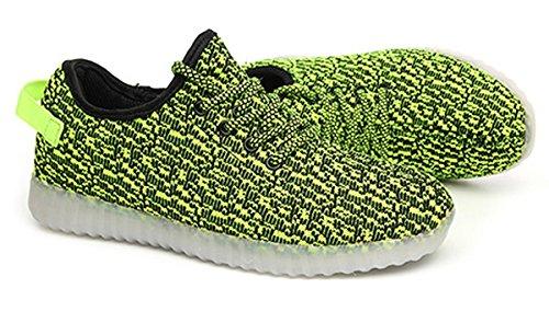 Joansam 7 Colori Led Luminoso Sneakers Unisex Uomo & Donna Luce Ricarica Usb Colorato Incandescente Per Il Tempo Libero Lampeggiante Scarpe Sportive Scarpe Green2