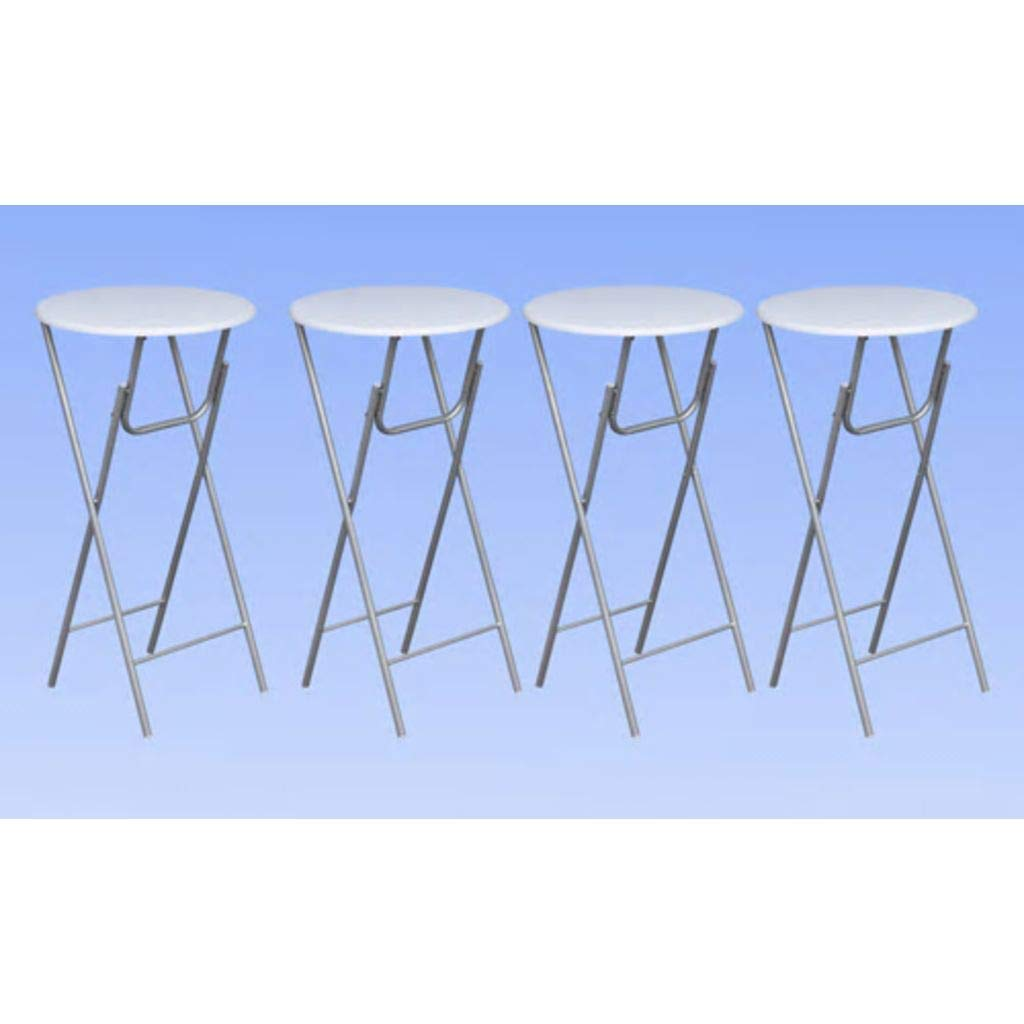Festnight Set de Mesas Altas Plegables Redonda 4 uds Ideal para Bar Jard/ín Terraza o Balc/ón,Superficie MDF Patas de Acero,60x6 x112cm,Blanco