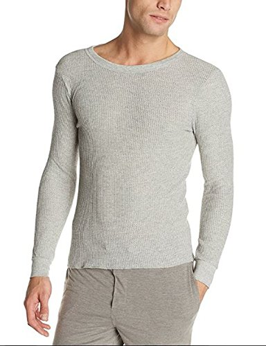 Fruit of the Loom Men's Classics Midweight Waffle Thermal Top, Light Grey Heather, (Cotton Thermal Shorts)