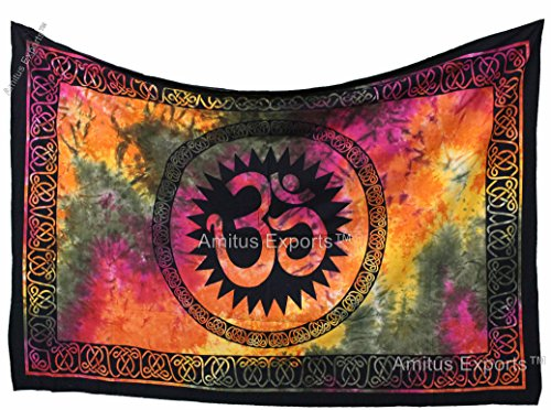 Amitus Exports (TM) 1 X OM Sing Tie Dye Multi 80x 52 Approx. Inches Tie Dye Multi Color Cotton Fabric Multi-Purpose Handmade Tapestry Hippy Indian M…