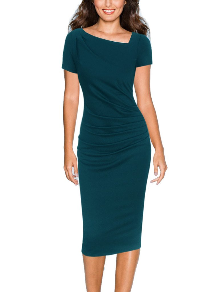 VfEmage Women Asymmetric Neckline Ruched Draped Wear to Work Casual Dress 3957 GRN 18