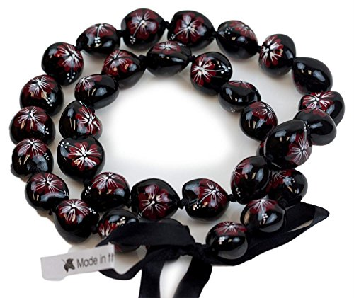 Barbra Collection Hawaiian Style Kukui Nut Lei Hibiscus Hand Painted Red Flower 32 Inches