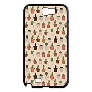 catus plants in lines cute pattern Samsung Galaxy Note 2 Case Black