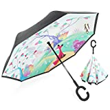 ZOMAKE Double Layer Inverted Umbrella Cars Reverse Umbrella, UV Protection Windproof Large Straight Umbrella for Car Rain Outdoor with C-Shaped Handle (Fox)