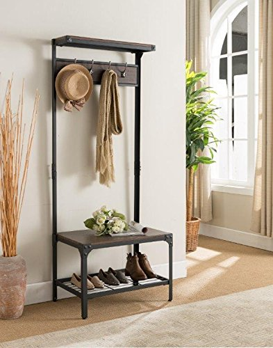 Kings Brand Antique Finish Entryway Hallway Bench With Coat Rack