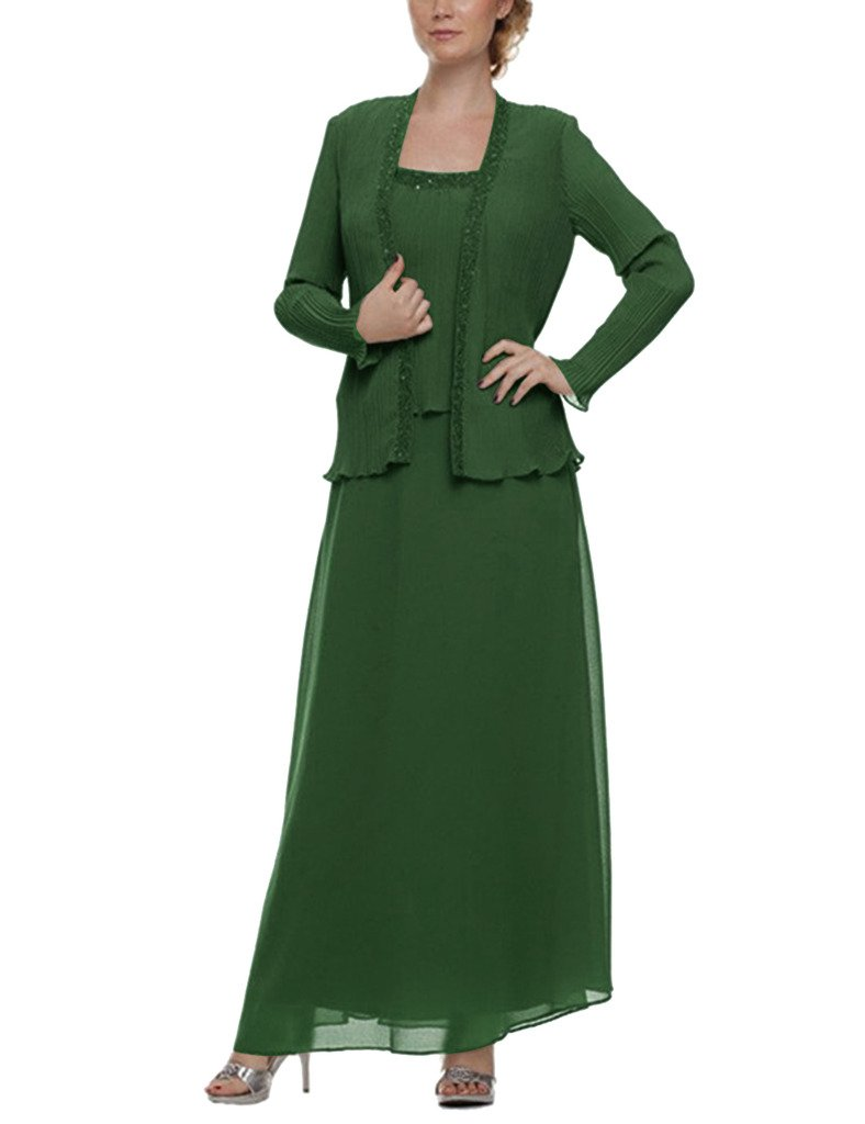 H.S.D Mother of the Bride Dress Chiffon Long Formal Gowns with Jacket Dark Green