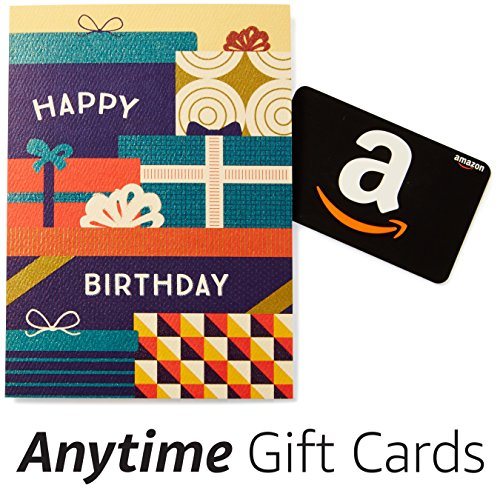 Amazon Happy Birthday Premium Greeting Card with Anytime Gift Card (Pack of 3) ()