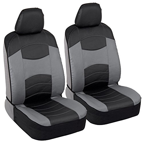 Soft & Smooth Leatherette Sideless Front Car Seat Covers (Black & Slate Gray)