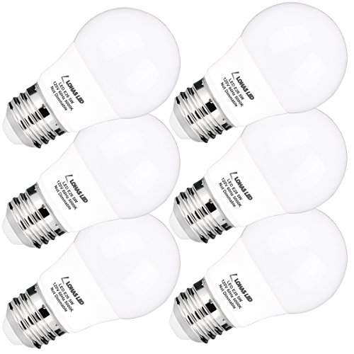 LOHAS A15 LED Light Bulb, 40W Equivalent(5W LED) Lights, E26 Medium Base Ceiling Fan Light Bulbs, Daylight 5000K LED Lights, Small for Refrigerator/Freezer Home Kitchen Lighting, Not-Dim,6 Pack