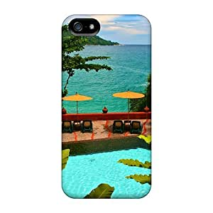 Fashion Tpu Case For Iphone 5/5s- Beautiful Beach View Pool Defender Case Cover