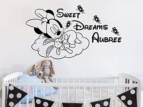 tondecla Vinyl Removable Wall Stickers Mural Decal Sweet Dreams Personalized Girl Name Custom Name Minnie Mouse Nursery Decor Kids ()
