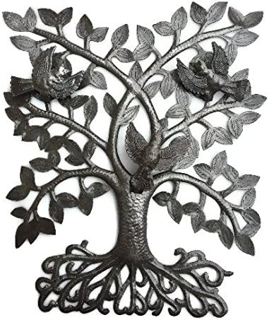 Metal Tree of Life with 3D Birds, Joyful Home Decor, Recycled Wall Art, Handmade in Haiti, 14 in. x 17 in.