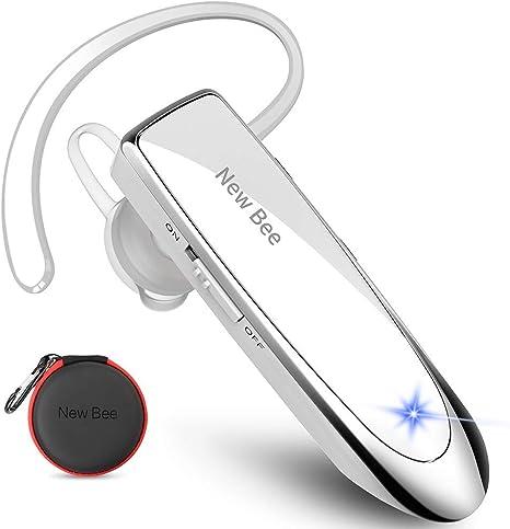Auriculares Manos Libres, New Bee Auricular Bluetooth Inalámbrico con Micrófono Cancelación de Ruido Auricular para iPhone, Samsung, Huawei, Xiaomi, HTC, LG, Sony, PC 60 Días en Espera (Blanco): Amazon.es: Electrónica