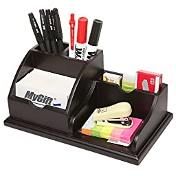 MyGift Wooden Desk Top Office Supply Organizer Caddy / Pens Business Card Holder / Memo Pad Rack - Brown