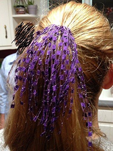 Ponytail Holder Elastic Purple Sparkle Alzheimer Epilepsy Cancer Awareness (Gift Basket Fundraiser)